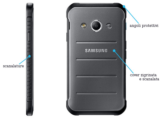 Samsung Galaxy Xcover 3 Laterale + Posteriore